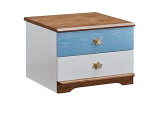 简美气概 主材北美洋蜡木 新西兰松木 北美红橡木 深咖色 象牙白 陆地蓝 儿童双抽床头柜