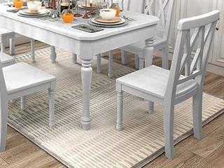 简美气概 泰国入口橡胶木 全实木 时髦灰餐椅