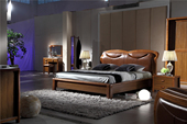 MS006#瑞德家居 幕尚系列 中式气概 实木框架 真皮 1.8m床