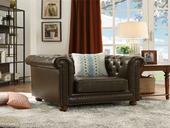 101#瑞德家居 普罗旺斯系列 简美气概  实木框架  皮艺沙发单人位