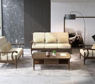 B805#瑞德家居  北欧乡村风格 白蜡木框架 布艺沙发套装(1+2+3)