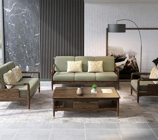 B806#瑞德家居  北欧乡村风格 白蜡木框架 布艺沙发套装(1+2+3)