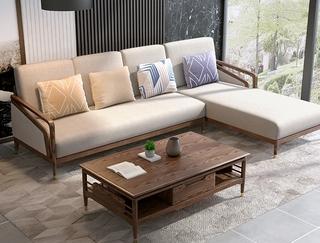 B812#瑞德家居  北欧乡村风格 白蜡木框架 布艺沙发套装(3+左贵妃)
