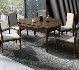 B804#瑞德家居  北欧乡村风格 白蜡木框架 拉伸1.35m圆餐桌