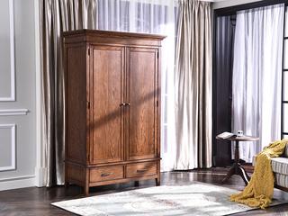 北美入口红橡 嘉宝莉环保漆简美 实木两门衣柜 全体衣柜 寝室贮存柜衣柜