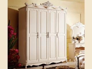 柜体(橡胶木)+门板(MDF板)+挂衣杆(香樟木荷斑白四门衣柜