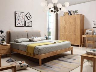 优良入口橡胶木框架 原木色+卡其色 北欧气概1.8米布艺床