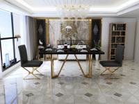 慕梵希 轻奢 黑不锈钢镀金 钢化玻璃C02餐桌