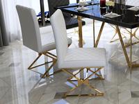慕梵希 轻奢 白不锈钢镀金 PU皮C02/X餐椅