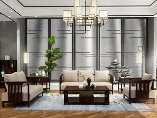 新中式 优良入口小乌金木 FA1903 沙发1+2+3
