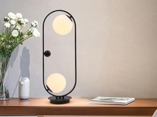 北欧气概 铁艺烤漆+玻璃8033-2玄色台灯(含E27矮泡5W白光)