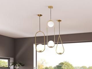 北欧气概 铁艺电镀+玻璃8006-2餐吊灯(含E27秃顶强暖光12W)