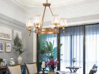 轻奢 铁艺+水晶罩1633-6 古铜色吊灯(含E14秃顶强暖光12W)