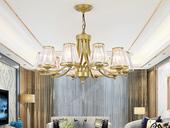领秀照明 轻奢 铁艺+水晶罩1635-10 金色吊灯(E27秃顶强暖光12W)