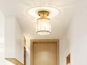领秀照明 轻奢 铁艺+水晶罩2636-1金色 吸顶灯(含E27秃顶强暖光12W)