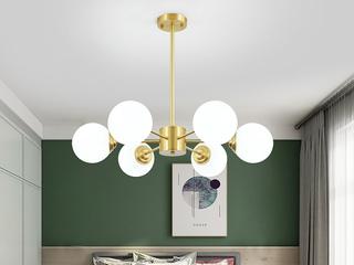 北欧 铜本性+玻璃8803-6吊灯(含E27秃顶强 暖光12W)