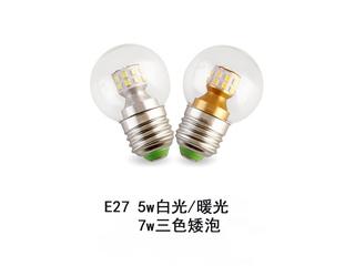 E27矮泡暖光5W光源