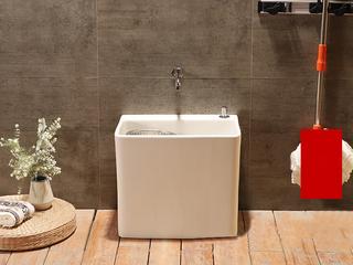 阳台拖把池陶瓷拖布池墩布池家用地拖池洗手间地拖盆洗拖把盆主动台控下水 送排水配件