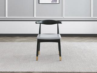 轻奢气概 Q302 浅灰超纤皮 洋蜡木餐椅