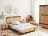 北欧印象 北欧气概 榉木坚忍框架 手工木蜡油工艺 曲奇色 ET6102儿童床 1.5*1.9米儿童床