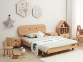 北欧印象 北欧气概 榉木坚忍框架 手工木蜡油工艺 曲奇色 ET6110儿童床 1.2*1.9米儿童床