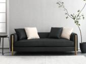 卡伦斯特 轻奢气概 不锈钢镀钛金 高级棉夏布 实木 双人位沙发(抱枕随机发货)