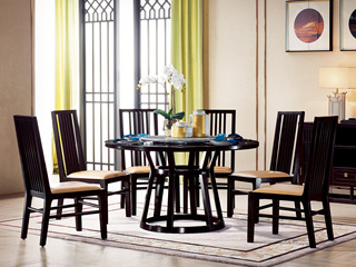 新中式 西北亚入口红檀木 自然大理石(转盘)C951 圆餐台 1.35米餐桌