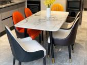 卡伦斯特 轻奢气概 大理石 不锈钢拉丝封釉镀钛金 实木架子1.6m餐桌