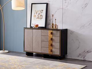 轻奢气概 钢化玻璃 实木抽屉 抽面贴木皮+实木脚1.2米餐边柜