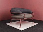 卡伦斯特 轻奢气概 高级棉夏布 玫瑰金不锈钢拉丝电镀 单人沙发