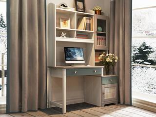 简美 卡慕斯系列 泰国入口橡胶木 儿童书桌(含书架和边柜)