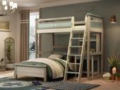 梓华轩 简美 卡慕斯系列 泰国入口橡胶木 儿童组合床套装(上床+下床+书桌)