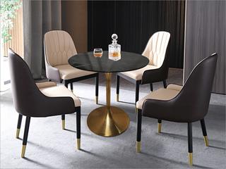 轻奢气概 大理石 不锈钢电镀钛金拉丝0.8m大理石洽商桌