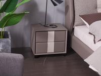 玛蒂芙 古代繁复 皮艺+板木布局+实木脚 灰色 床头柜