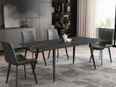 菲格 极简气概 直边圆角岩板台面 金属圆角脚 1.6米餐桌