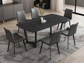 菲格 极简气概 直边圆角岩板台面 碳素金属脚 1.8米餐桌