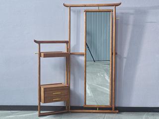 北欧气概 精选洋蜡木 文雅木纹 实木臻品 带置物柜 适用穿衣镜