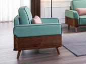 源木光阴 北欧气概 北美入口洋蜡木框架 科技布 饱满防陷落座垫 单人沙发