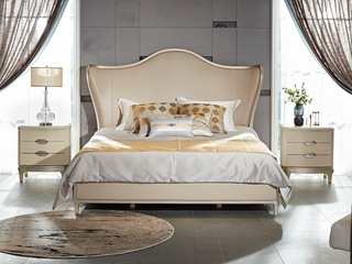 简美气概 北美入口榉木坚忍框架 皮艺 松木床板条床 1.8*2.0米床