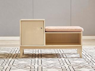 简美气概 北美入口榉木坚忍框架 棉绒布 换鞋凳