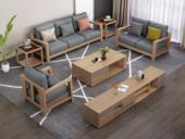 荣之鼎 北欧气概 泰国入口橡胶木坚忍框架 优良棉夏布艺 沙发组合(1+2+3)