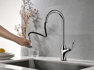 【包邮 快递抵家(偏僻地域除外)】两种出水形式 水槽抽拉龙头 防溅水起泡式出水 银色ZY50