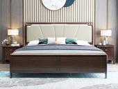 华韵 新中式 橡木 主卧 双人 储物 1.8米超纤皮 气压高箱床