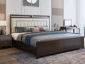 华韵 新中式 橡木檀艺 主卧 双人床 1.8米超纤皮床