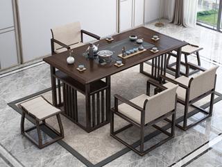 新中式气概 优良橡胶木 紫檀色 1.4米工夫茶台