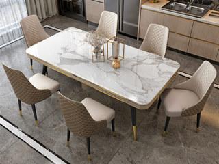 轻奢气概 碳素钢+大理石 1.4米 餐桌