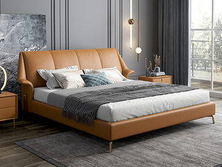 轻奢 全实木内架 白鹅羽绒 暮光橙 温馨柔嫩1.8米科技布床(搭配10公分松木筏骨架)
