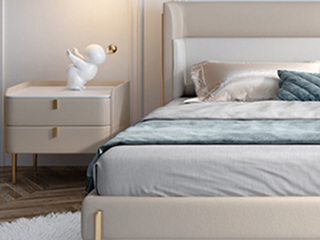 轻奢 岩板 实木内架 奶茶色 床头柜