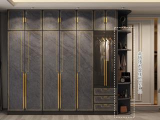 轻奢气概 质感雅黑柜体 玫瑰金表面线条 长0.4米边柜