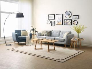 稳固耐用实木沙发脚 吸湿透气棉麻布 可全拆洗 北欧风格 浅灰色三人沙发